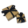 Gold wrapping with a black bow