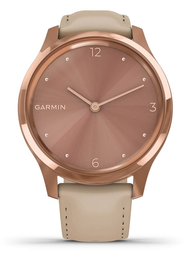 Garmin Vivomove Luxe Rose Gold Sand Leather Strap Watch