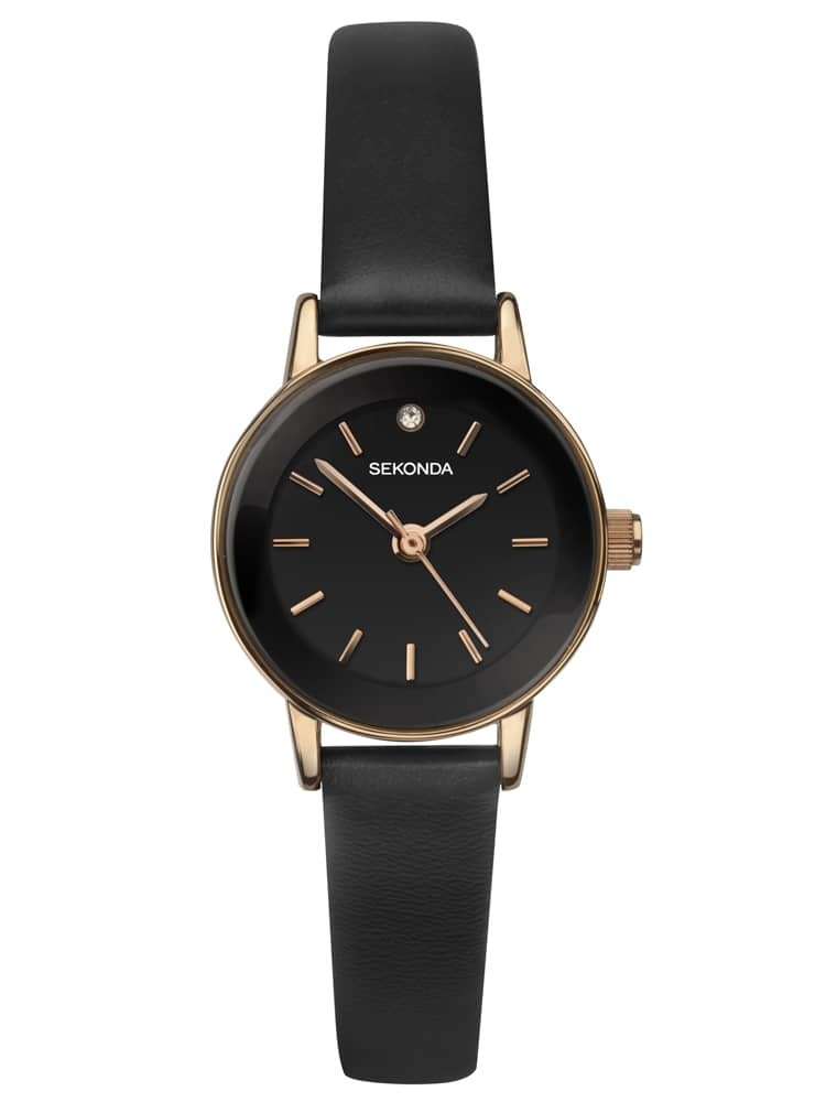 Sekonda Ladies Rose Gold Plated Black Stone Set Dial Brown Leather Strap Watch