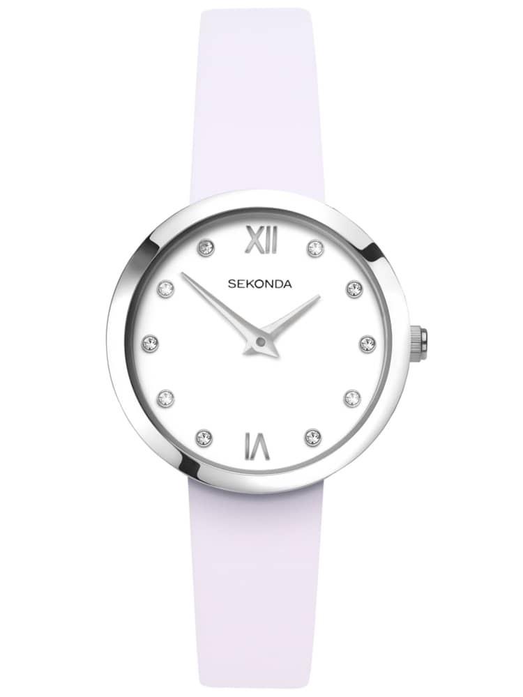 Sekonda Ladies Editions White Stone Set Dial Lilac Leather Strap Watch
