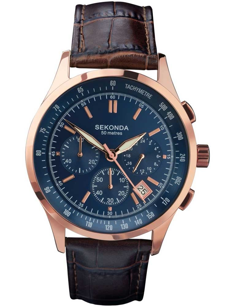 sekonda mens rose gold plated blue chronograph watch 1157. Black Bedroom Furniture Sets. Home Design Ideas