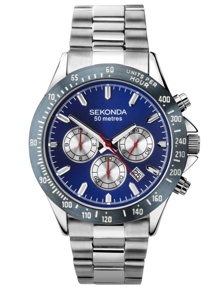 Sekonda Mens Classic Chronograph Blue Dial Stainless Steel Bracelet Watch