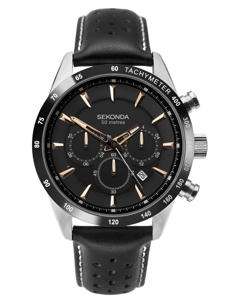 Sekonda Mens Stainless Steel Black Chronograph Dial Leather Strap Watch