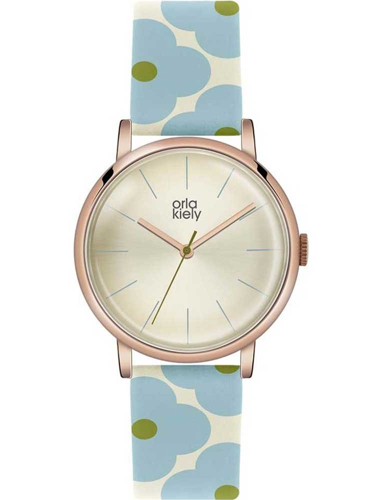 orla kiely patricia rose gold plated blue flower strap