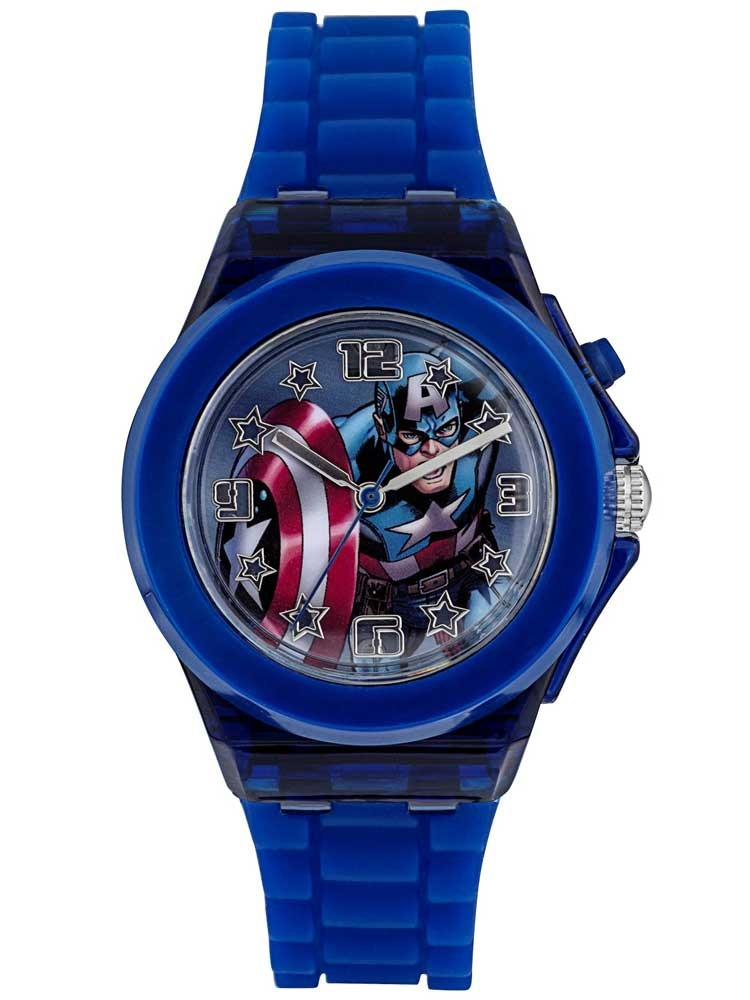 Avengers kids dark blue light up captain america watch cta3105 for Avengers watches