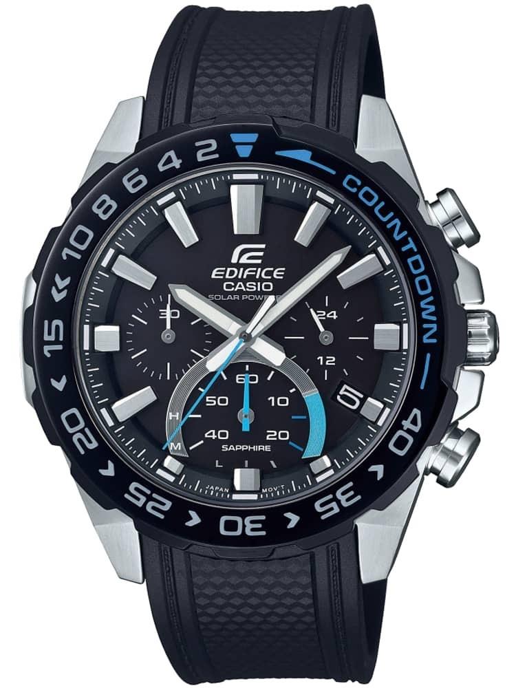 Casio Edifice Premium Solar Chronograph Black Rubber Strap Watch