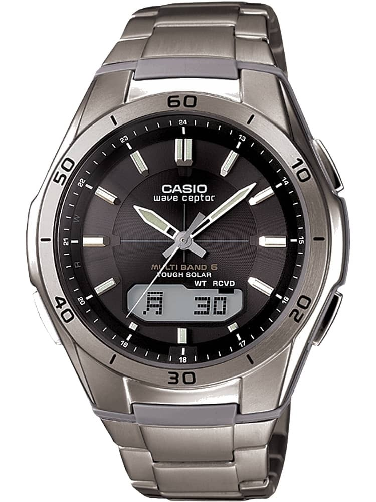 Casio Casio Collection Wave Ceptor Solar Dual Display Black Titanium Bracelet Watch Wva
