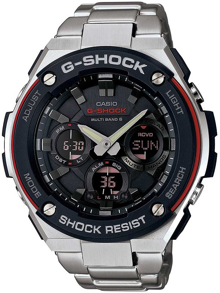 Casio G Shock G Steel Solar Dual Display Black Bracelet Watch Gst