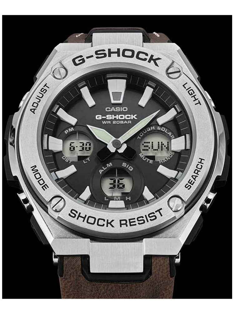 Casio G Shock G Steel Solar Dual Display Brown Leather Strap Watch