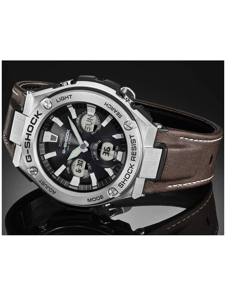 98f2aed656 Casio G-Shock G-Steel Solar Dual Display Brown Leather Strap Watch GST -W130L-1AER