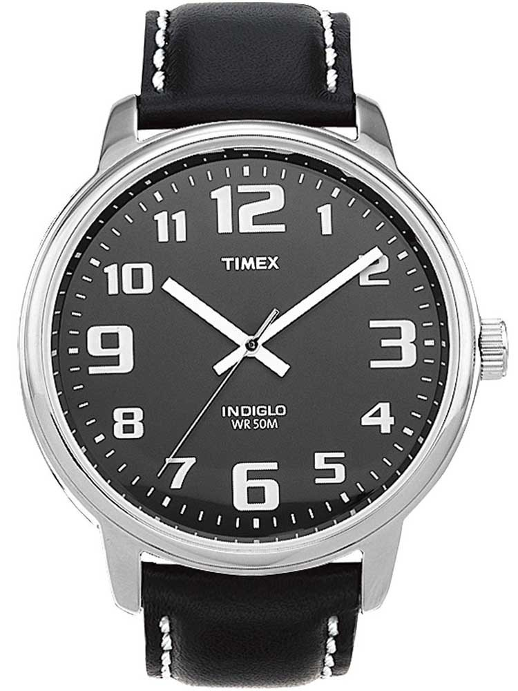 Timex mens black leather strap watch t28071 for Leather strap watches