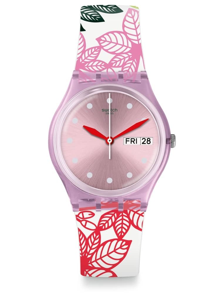 Swatch Summer Leaves Multicolor Rubber Strap Watch