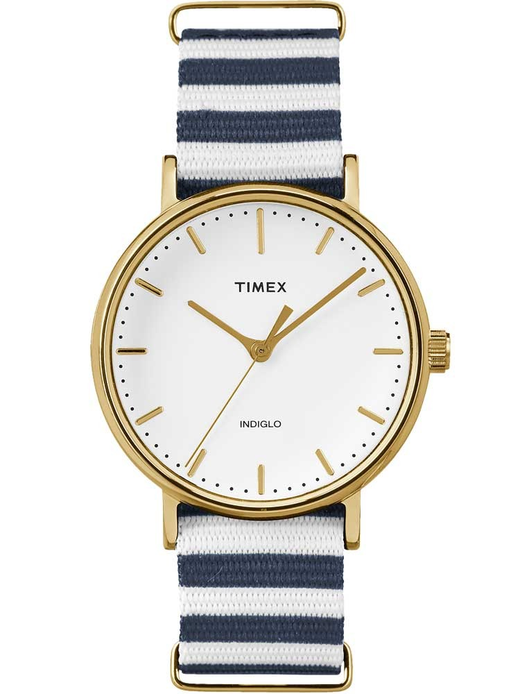 Timex Weekender Ladies Gold Plated Fabric Strap Watch