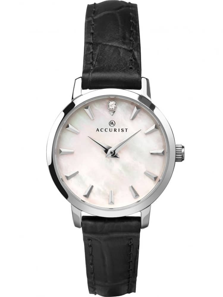 Accurist Ladies Mother Of Pearl Black Strap Watch