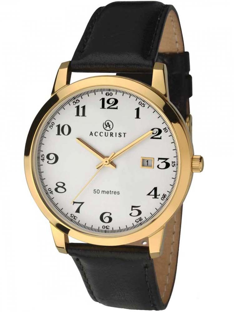 Accurist Mens Gold Plated Black Leather Strap Watch