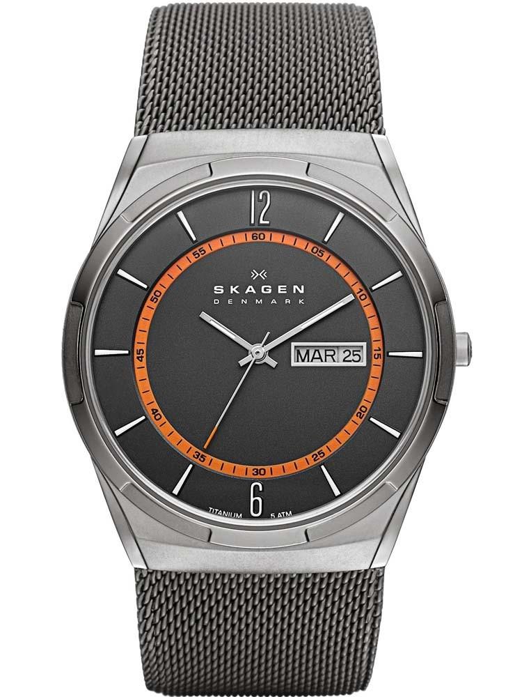 Skagen Titanium Grey Mesh Black And Orange Watch