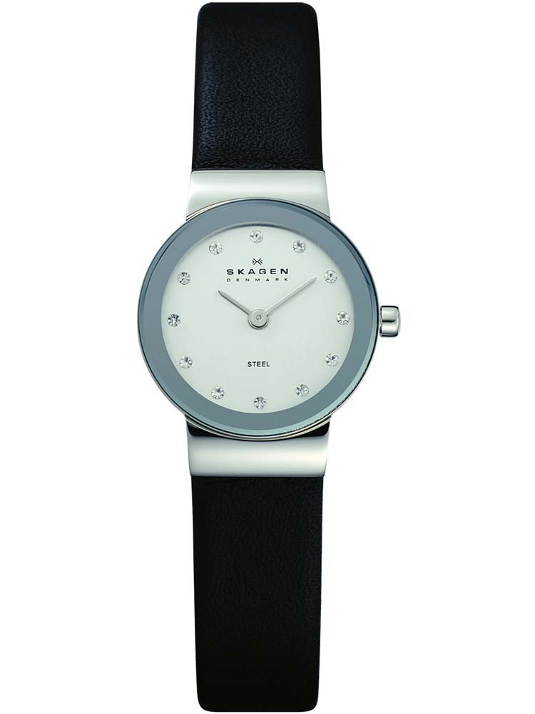 Skagen Ladies Stone Set Black Strap Watch