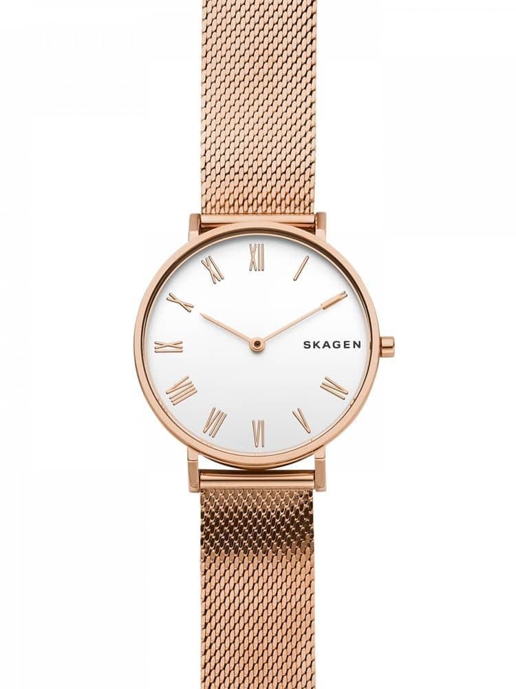 Skagen Ladies Hald Rose Gold Plated Mesh Bracelet Watch