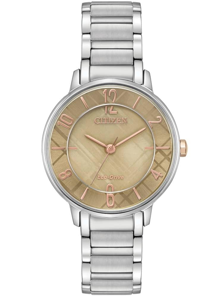 Citizen Ladies Silhouette Caramel Dial Stainless Steel Bracelet Watch