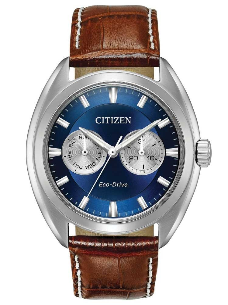 Citizen Mens Paradex Day-Date Brown Leather Strap Watch
