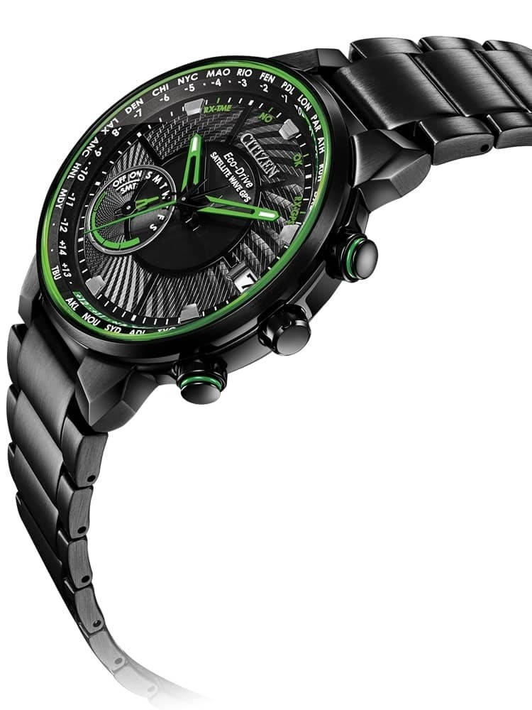 Citizen Mens Satellite Wave Gps Freedom Black And Green Dial Bracelet Watch Cc3035 50e