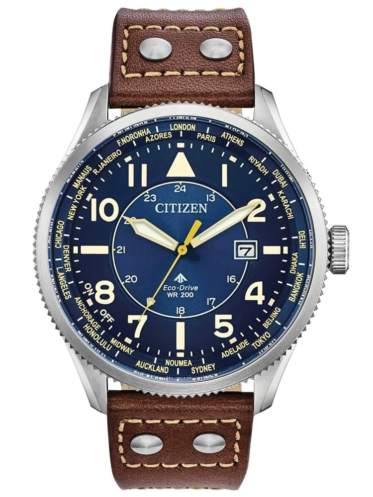 Citizen Mens Promaster Nighthawk Blue Dial Brown Leather Strap Watch