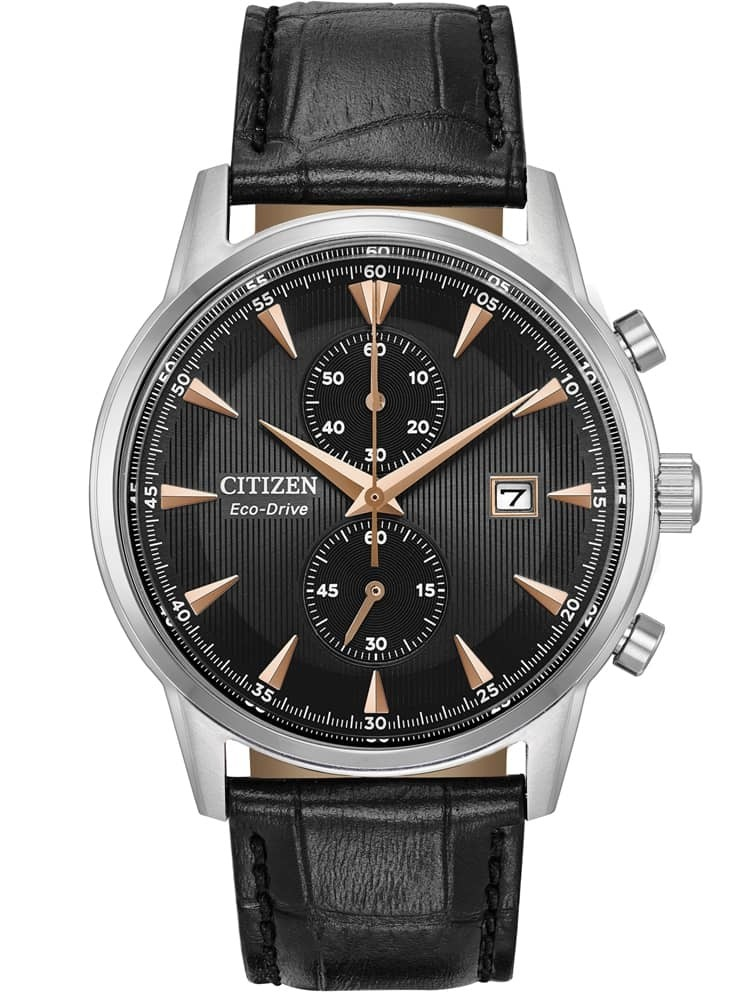 Citizen Mens Corse Stainless Steel Black Chronograph Dial Leather Strap Watch
