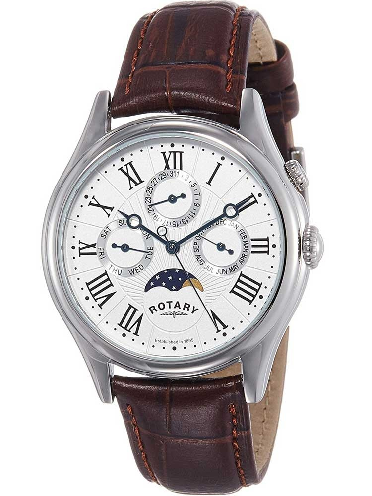 Rotary mens moonphase leather strap watch gs02838 01 for Leather strap watches