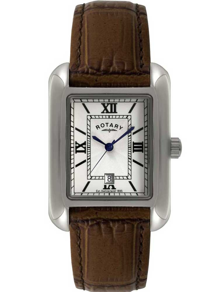 rotary mens rectangular dial brown strap watch gs02650 01