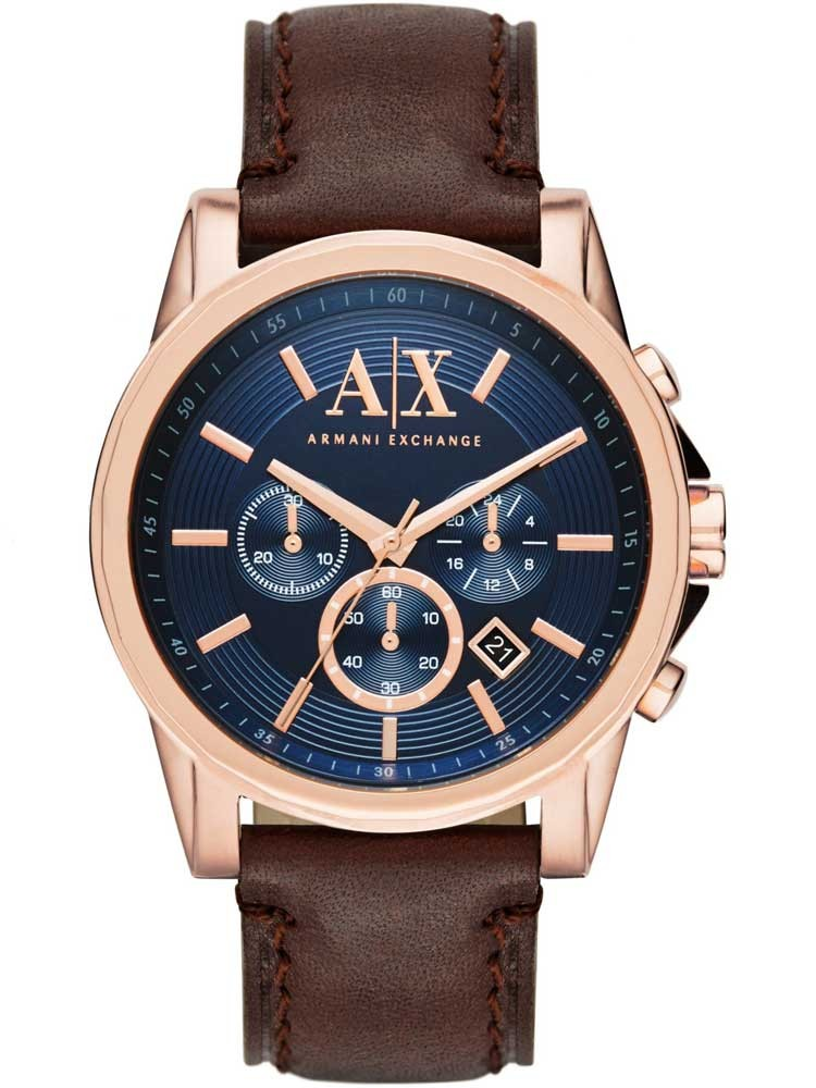 Armani exchange mens rose gold plated blue dial chronograph leather strap watch ax2508 for Armani exchange watches