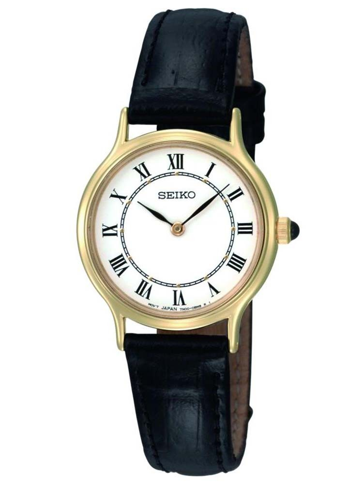 Seiko Ladies Discover More Gold Plated Black Leather Strap Watch