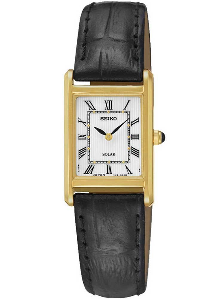 Seiko Ladies Discover More Solar Rectangular Gold Plated Leather Strap Watch