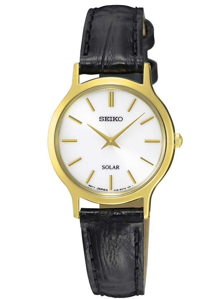 Seiko Ladies Discover More Solar Gold Plated Leather Strap Watch
