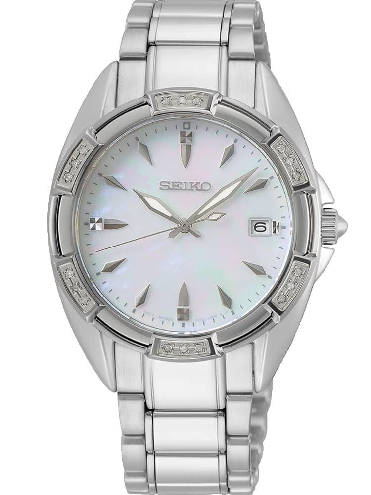 Seiko Ladies Mother Of Pearl Dial Diamond Set Bezel Stainless Steel Bracelet Watch
