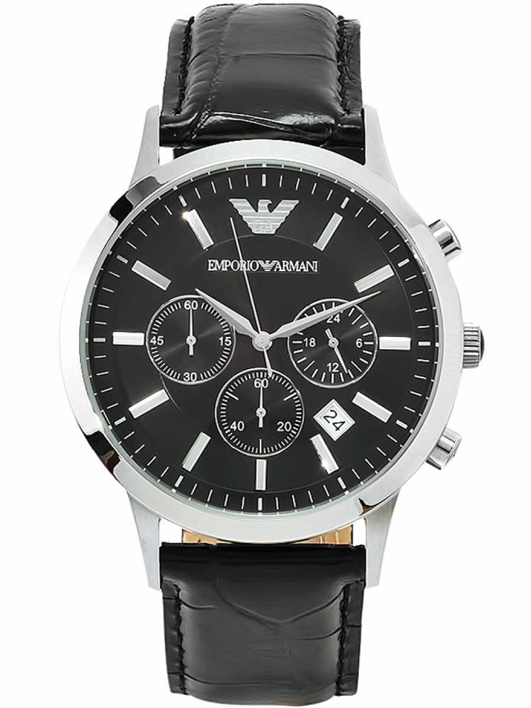 Emporio Armani Gents Stainless Steel Black Chronograph Dial Black Strap Watch