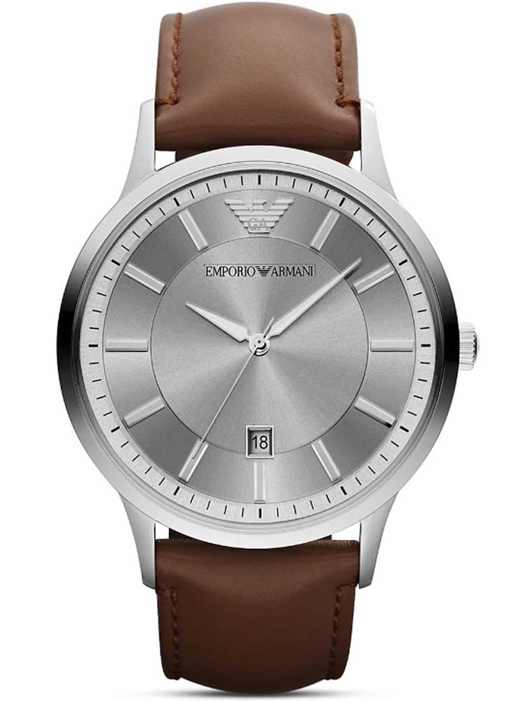 Emporio Armani Stainless Steel Round Silver Dial Brown Strap Watch