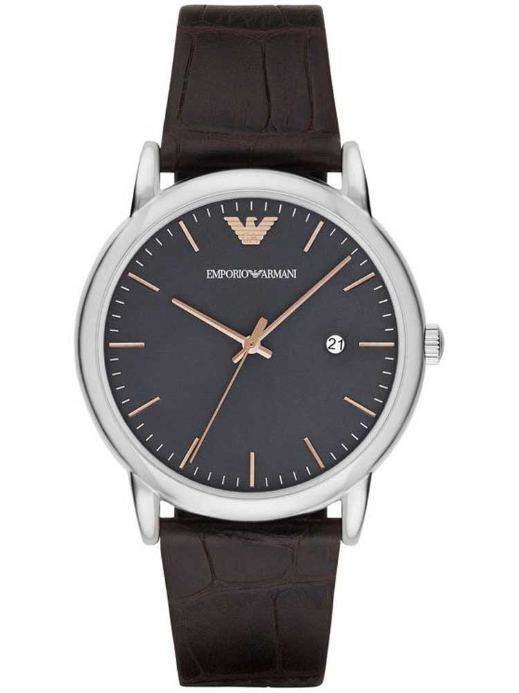 c5c3d9939aad Emporio ArmaniMens Stainless Steel Brown Leather Strap Watch AR1996