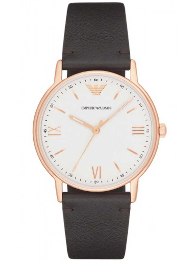 Emporio Armani Mens White and Rose Tone Watch