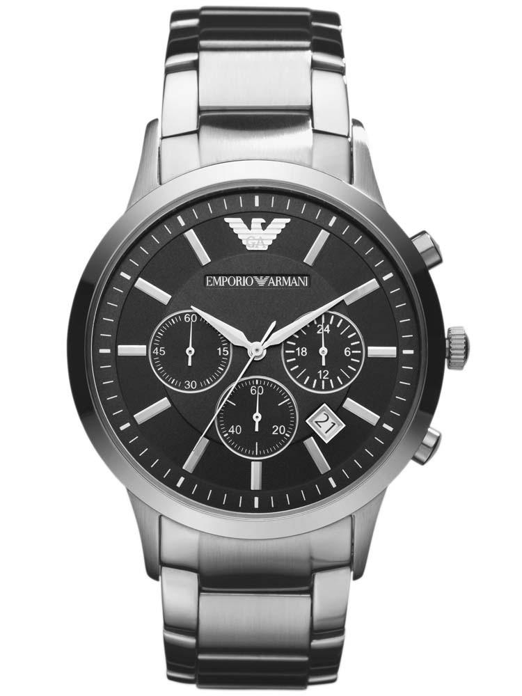 emporio armani classic mens silver chronograph watch ar2434. Black Bedroom Furniture Sets. Home Design Ideas