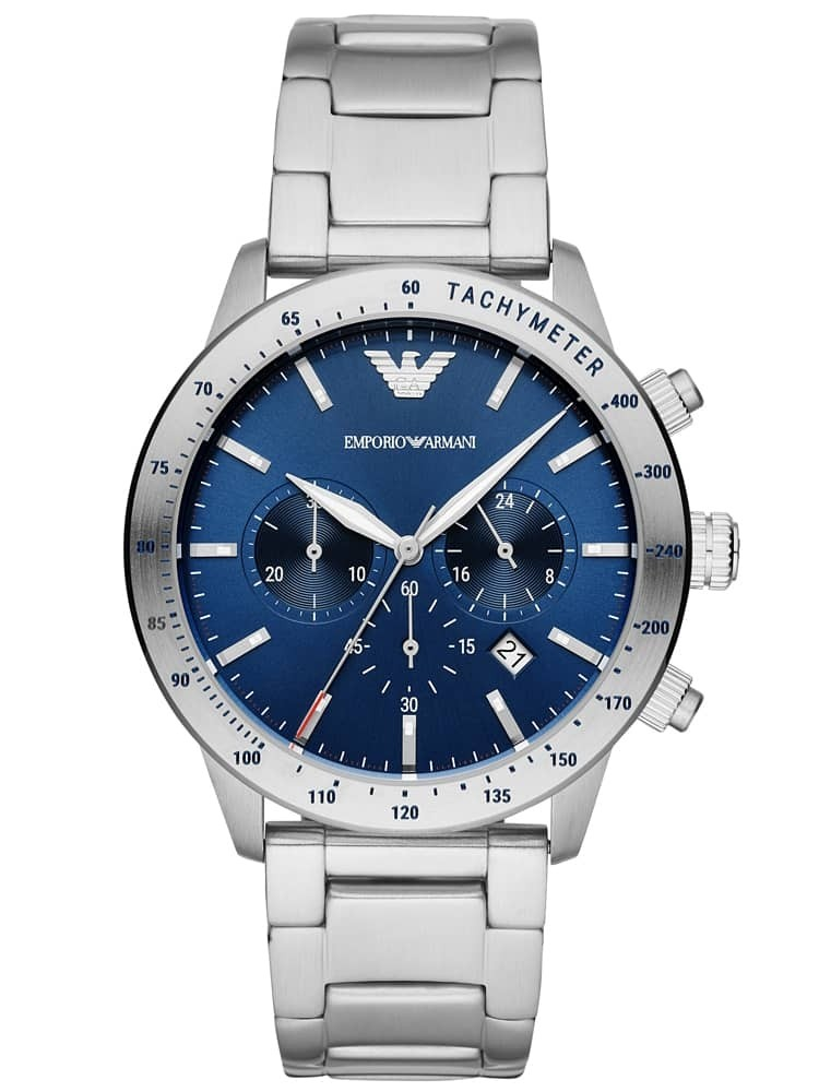 Emporio Armani Mens Blue Chronograph Dial Stainless Steel Bracelet Watch