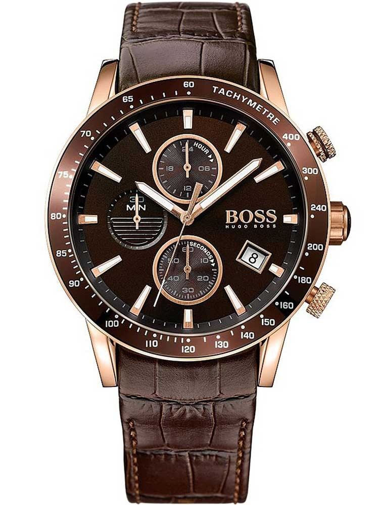 Boss Mens Rafale Chronograph Brown Leather Strap Watch 1513392
