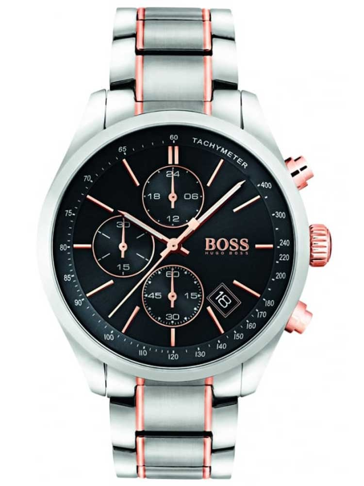 BOSS Mens Grand Prix Chronograph Two Tone Bracelet Watch