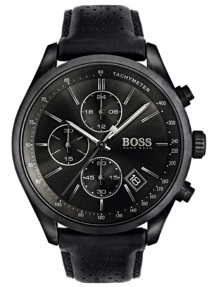 BOSS Mens Grand Prix Chronograph Black Leather Strap Watch