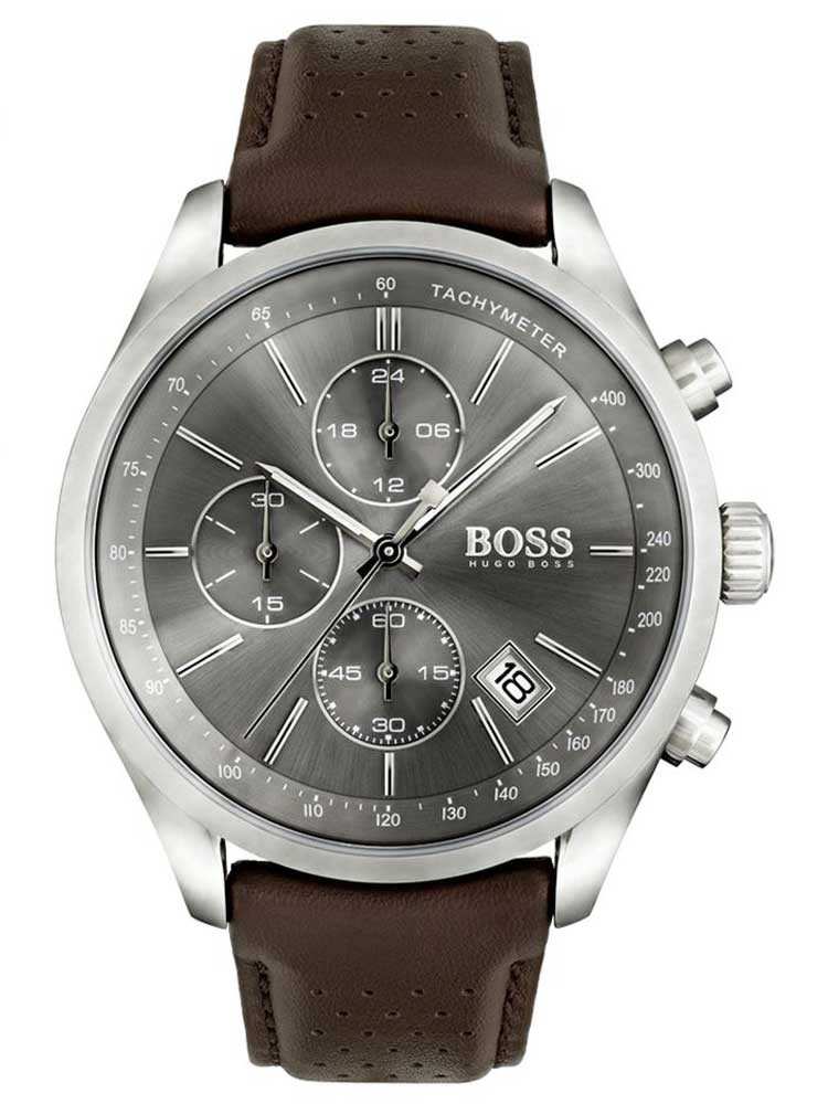 BOSS Mens Grand Prix Chronograph Brown Leather Strap Watch