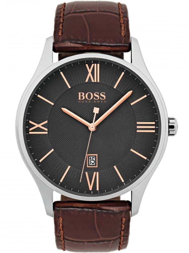 6d3adc01c BOSS Mens Governor Brown Leather Strap Watch 1513484