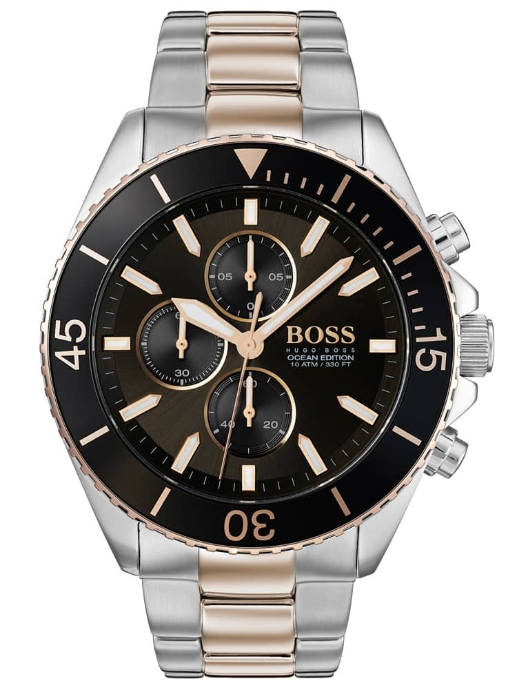 BOSS Mens Ocean Edition Chronograph Two Tone Bracelet Watch