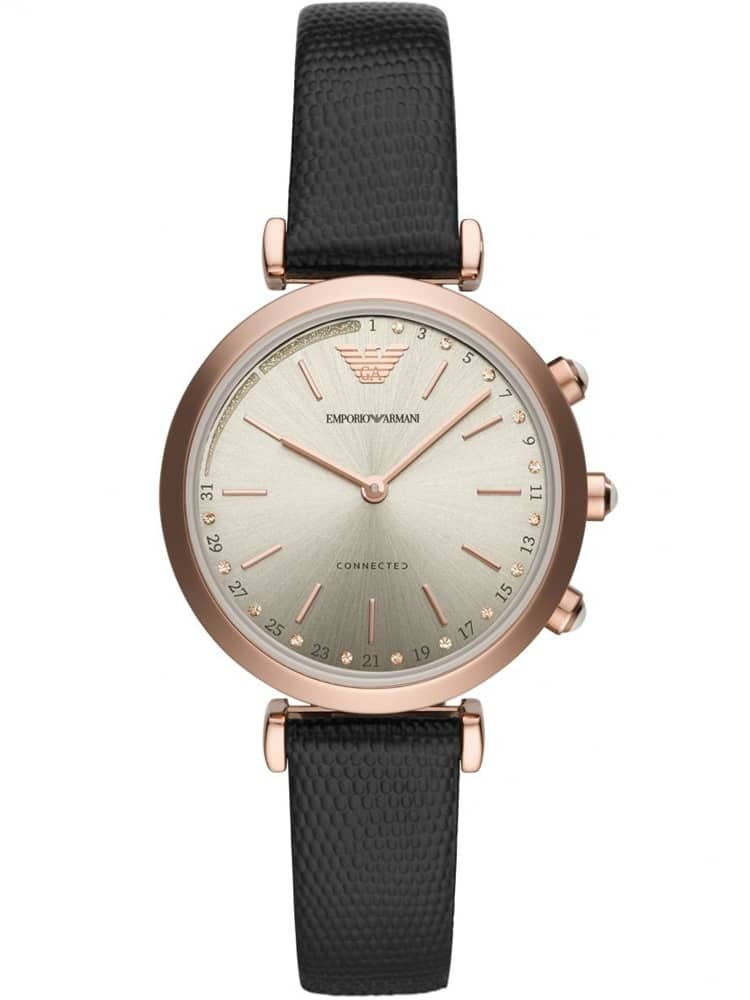 Emporio Armani Ladies Connected Rose Gold Plated Black Strap Smartwatch