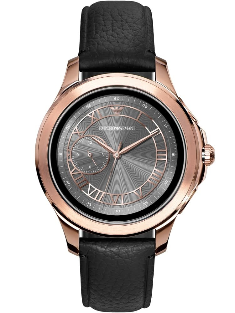 Emporio Armani Connected Touchscreen Rose PVD Black Leather Strap Smartwatch