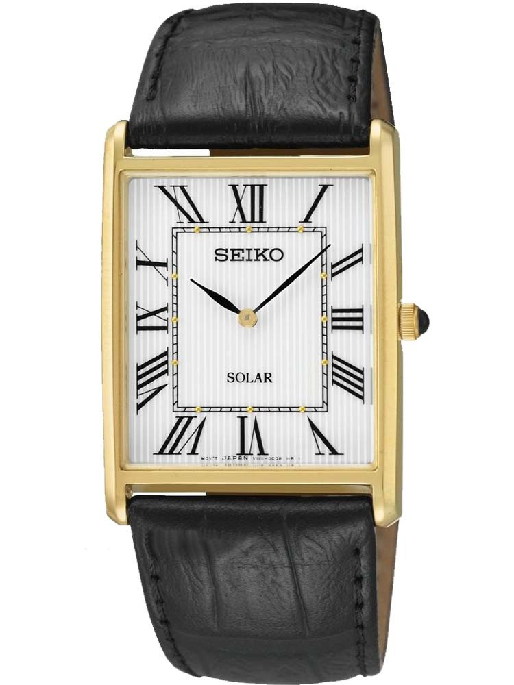 c72441231 SeikoMens Discover More Solar Rectangular Gold Plated Leather Strap Watch  SUP880P1