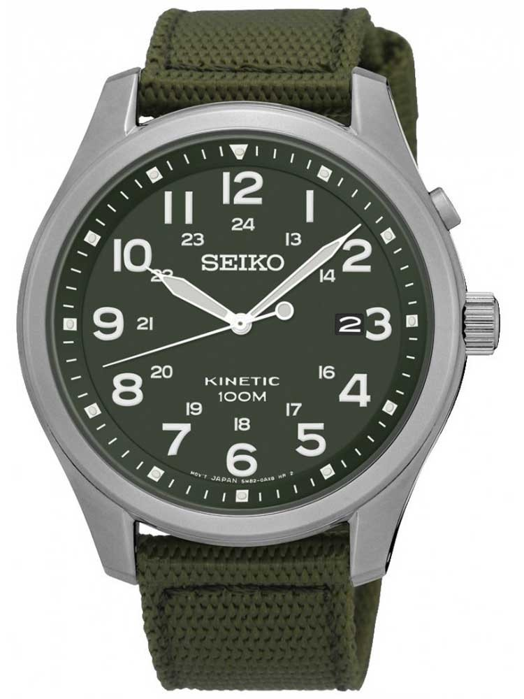 seiko mens kinetic green leather watch ska725p1